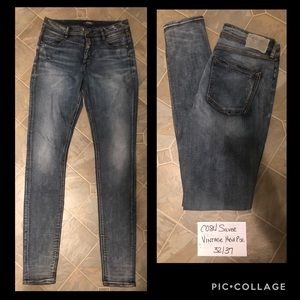 Silver Vintage High Rise Skinny Jeans tall